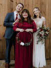 Plus Size See-Through Floor Length Lace Evening Dress With Half Sleeve-Burgundy 2