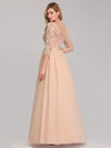 See-Through Floor Length Lace Evening Dress With Half Sleeve-Blush 2