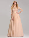 See-Through Floor Length Lace Evening Dress With Half Sleeve-Blush 1