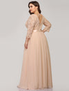 See-Through Floor Length Lace Evening Dress With Half Sleeve-Blush 7