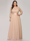 See-Through Floor Length Lace Evening Dress With Half Sleeve-Blush 6