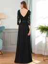 See-Through Floor Length Lace Evening Dress With Half Sleeve-Black 2
