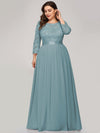 Plus Size See-Through Floor Length Lace Evening Dress With Half Sleeve-Dusty Blue 4
