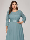 Plus Size See-Through Floor Length Lace Evening Dress With Half Sleeve-Dusty Blue 5