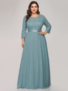 See-Through Floor Length Lace Evening Dress With Half Sleeve-Dusty Blue 6