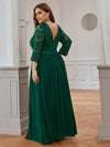 Plus Size See-Through Floor Length Lace Evening Dress With Half Sleeve-Dark Green 2