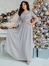See-Through Floor Length Lace Evening Dress With Half Sleeve-Grey 1