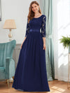 See-Through Floor Length Lace Evening Dress With Half Sleeve-Navy Blue 1