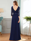 See-Through Floor Length Lace Evening Dress With Half Sleeve-Navy Blue 2
