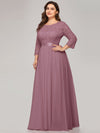 See-Through Floor Length Lace Evening Dress With Half Sleeve-Purple Orchid 7