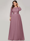 Plus Size See-Through Floor Length Lace Evening Dress With Half Sleeve-Purple Orchid 4