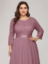 Plus Size See-Through Floor Length Lace Evening Dress With Half Sleeve-Purple Orchid 5