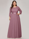 See-Through Floor Length Lace Evening Dress With Half Sleeve-Purple Orchid 6