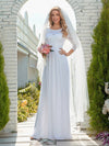 Simple Casual Lace & Chiffon Wedding Dress For Bridal-White 2