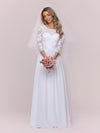 Simple Casual Lace & Chiffon Wedding Dress For Bridal-White 4