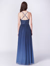 Long Ombre Prom Dress With Sequin Bust-Navy Blue 6