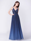 Long Ombre Prom Dress With Sequin Bust-Navy Blue 8