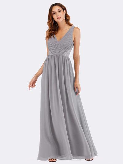 V Neck Ruched Bust Long Evening Dress