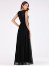 Elegant A Line V Neck Hollow Out Long Bridesmaid Dress With Lace Bodice-Black  2