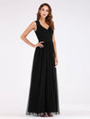 Elegant A Line V Neck Hollow Out Long Bridesmaid Dress With Lace Bodice-Black 3