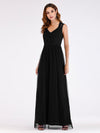 Elegant A Line V Neck Hollow Out Long Bridesmaid Dress With Lace Bodice-Black 4
