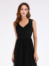 Elegant A Line V Neck Hollow Out Long Bridesmaid Dress With Lace Bodice-Black  5