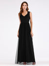 Elegant A Line V Neck Hollow Out Long Bridesmaid Dress With Lace Bodice-Black 1