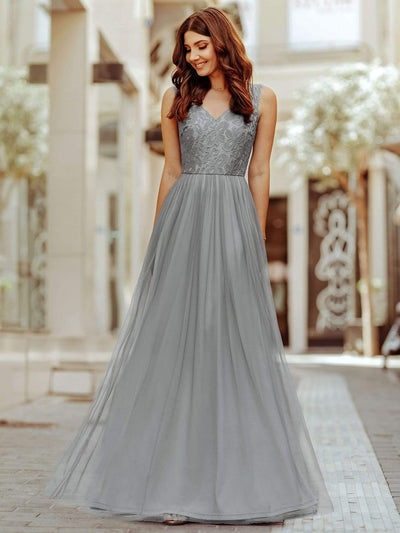 Elegant A Line Hollow Out Maxi Long Lace Bridesmaid Dress