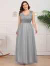 Elegant A Line V Neck Hollow Out Long Bridesmaid Dress With Lace Bodice-Grey 9