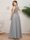 Elegant A Line V Neck Hollow Out Long Bridesmaid Dress With Lace Bodice-Grey 10