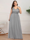 Elegant A Line V Neck Hollow Out Long Bridesmaid Dress With Lace Bodice-Grey  11