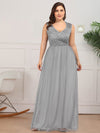 Elegant A Line V Neck Hollow Out Long Bridesmaid Dress With Lace Bodice-Grey  12