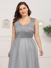 Elegant A Line V Neck Hollow Out Long Bridesmaid Dress With Lace Bodice-Grey 13