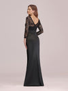 Long Sleeve Lace & Satin Evening Gown-Black 2
