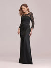 Long Sleeve Lace & Satin Evening Gown-Black 3