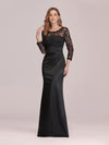 Long Sleeve Lace & Satin Evening Gown-Black 4