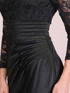 Long Sleeve Lace & Satin Evening Gown-Black 5