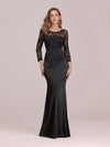 Long Sleeve Lace & Satin Evening Gown-Black 1