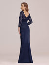 Long Sleeve Lace & Satin Evening Gown-Navy Blue 2