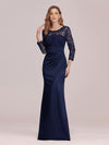 Long Sleeve Lace & Satin Evening Gown-Navy Blue 1
