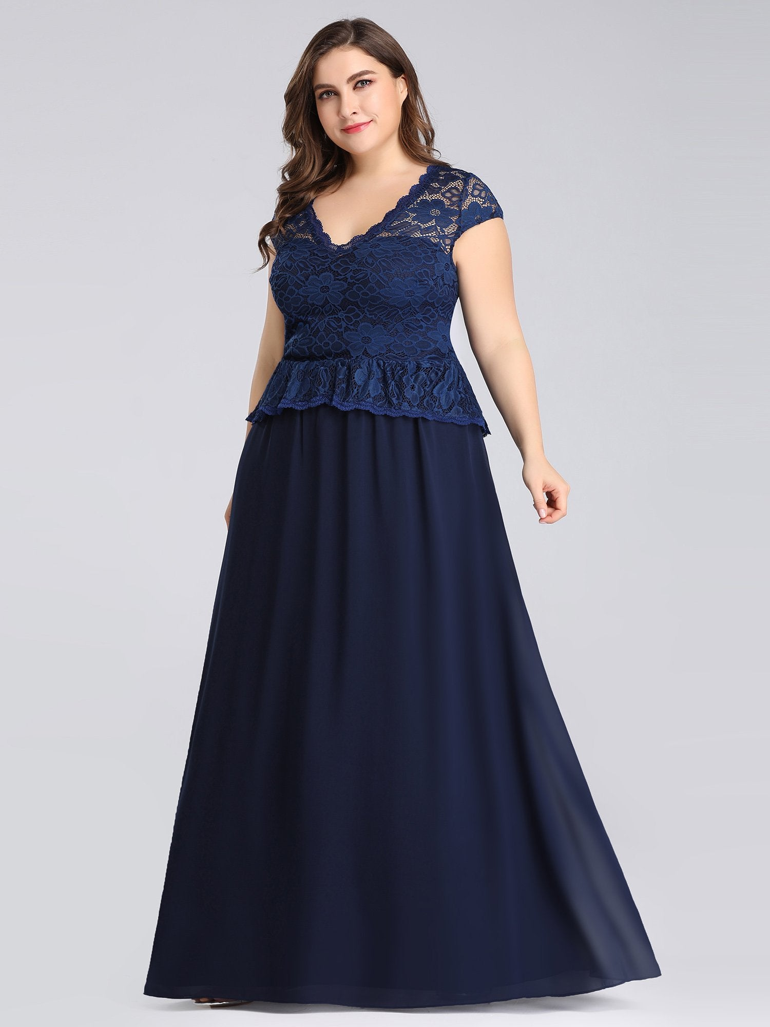 4a4811580298f Long Navy Blue Evening Dress with Lace Bodice