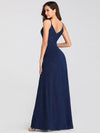 Shimmery Long V Neck Prom Dress With Slit-Navy Blue 3