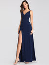 Shimmery Long V Neck Prom Dress With Slit-Navy Blue 4