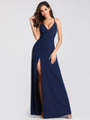 Shimmery Long V Neck Prom Dress With Slit-Navy Blue 5