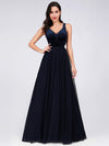 Shimmery Floor Length Burgundy Prom Dress-Navy Blue 1