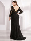 Plus Size Long Shimmery Lace Black Evening Gown-Black 2