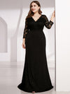 Plus Size Long Shimmery Lace Black Evening Gown-Black 4