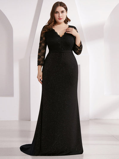 Plus Size Long Shimmery Lace Black Evening Gown