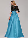 Women Lace Round Neck Formal Evening Dress-Sky Blue 2