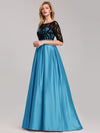 Women Lace Round Neck Formal Evening Dress-Sky Blue 3